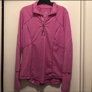 Women's pink striped pullover hoodie Reflective